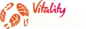 Vitality Running World Cup logo with Off White text